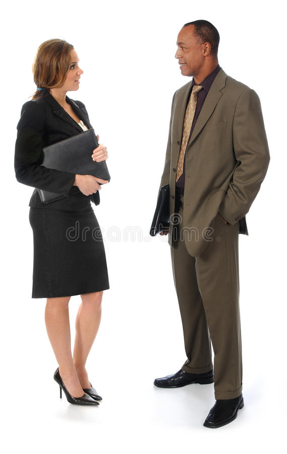 James W Rouse Business Person : Two business people talking on white stock photo image