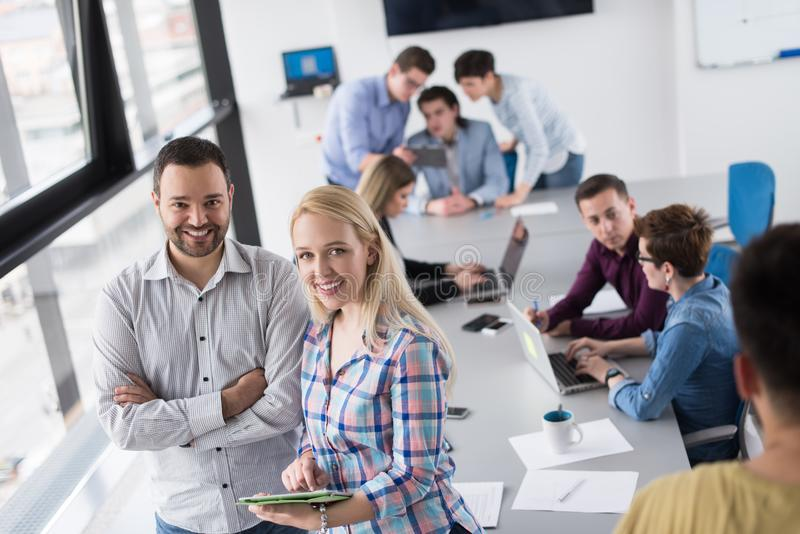 Two Business People Working With Tablet in office royalty free stock photo