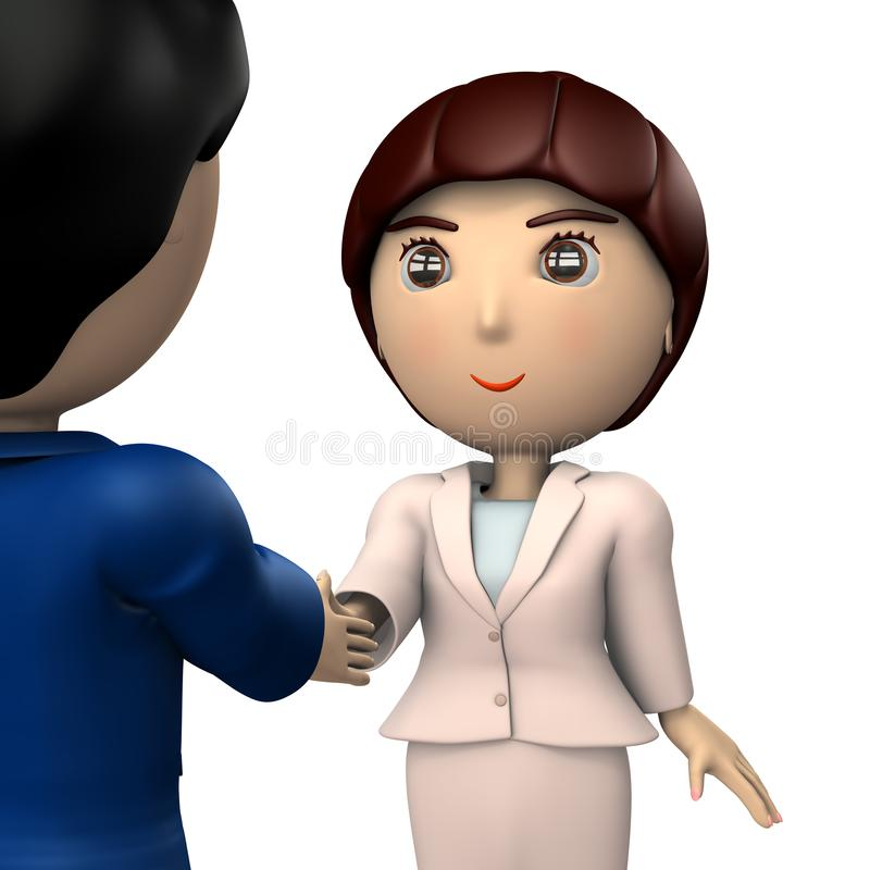 Two business people who shake hands. A pair of men and women. It depicts a business partner. 3D illustration vector illustration
