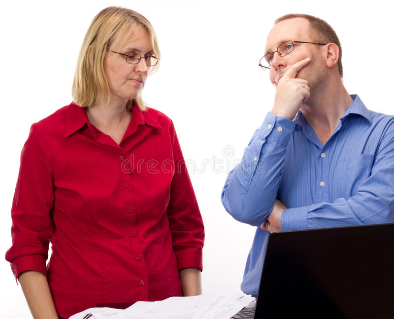 Download Two Business People Working Stock Image - Image of computer, documents: 26398639