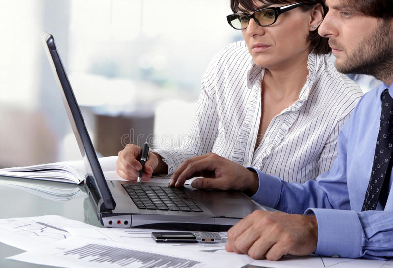 Two Business People Working Stock Images