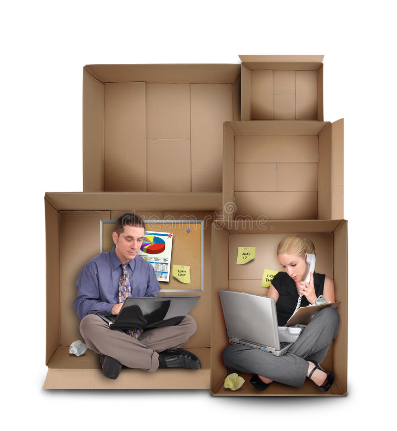 Small Entrepreneur People Working in Box royalty free stock photos