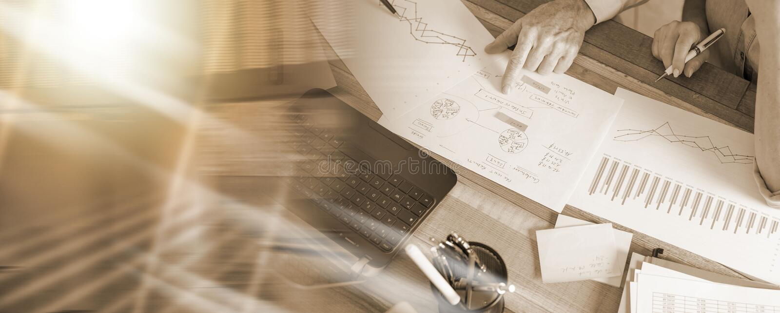 Two business people working together; multiple exposure royalty free stock photo