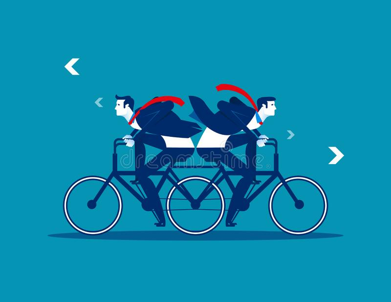 Two Business person riding the same bike in opposite directions. Concept business vector illustration. Flat design style royalty free illustration
