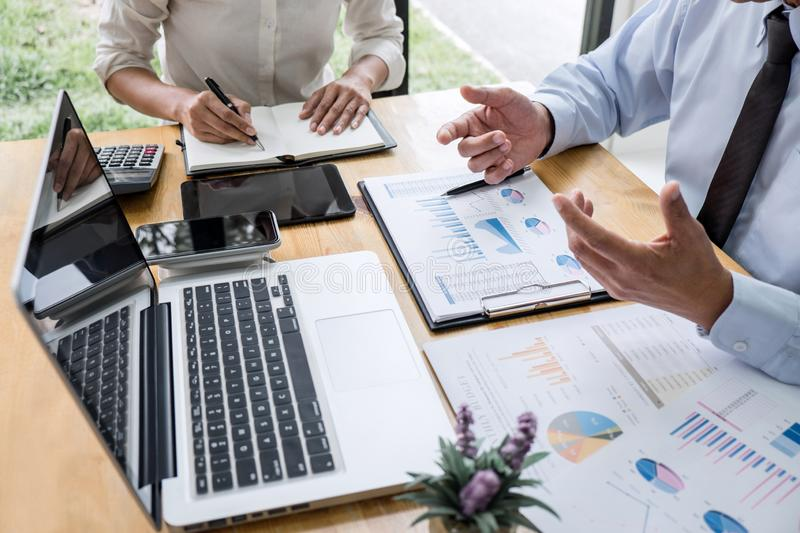 Two business team manager having a discussing with new project success financial statistics, Partner meeting professional investor. Working start up project for royalty free stock photo
