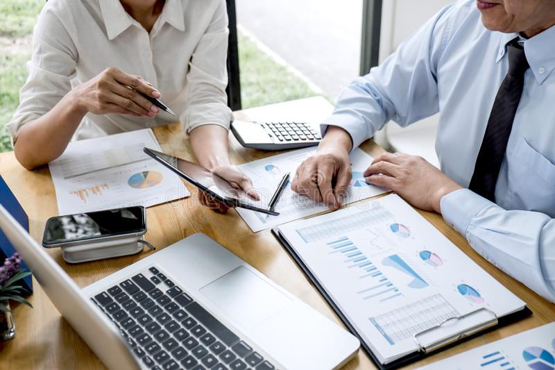 Two business team manager having a discussing with new project success financial statistics, Partner meeting professional investor stock photos