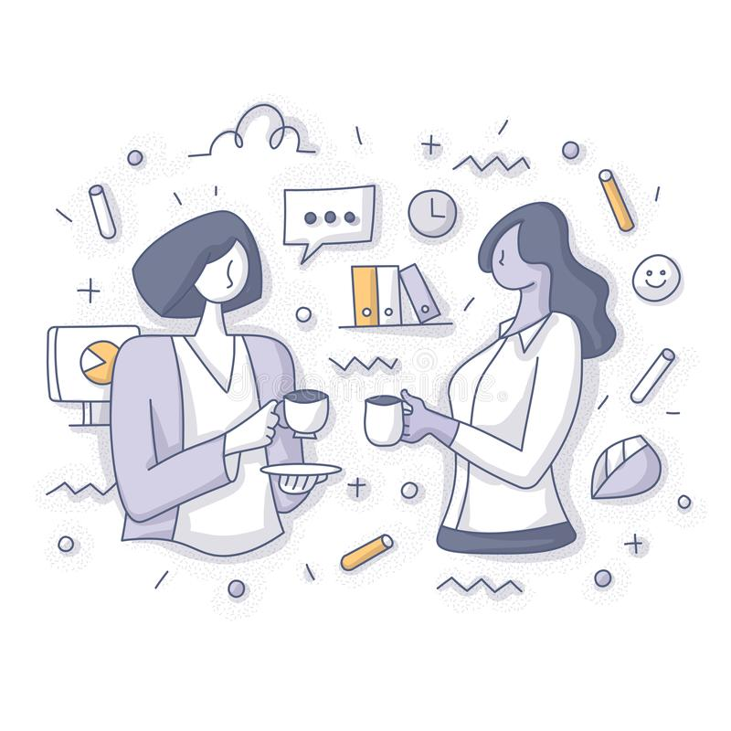 Two Business Women on Coffee Break at Work Concept royalty free illustration