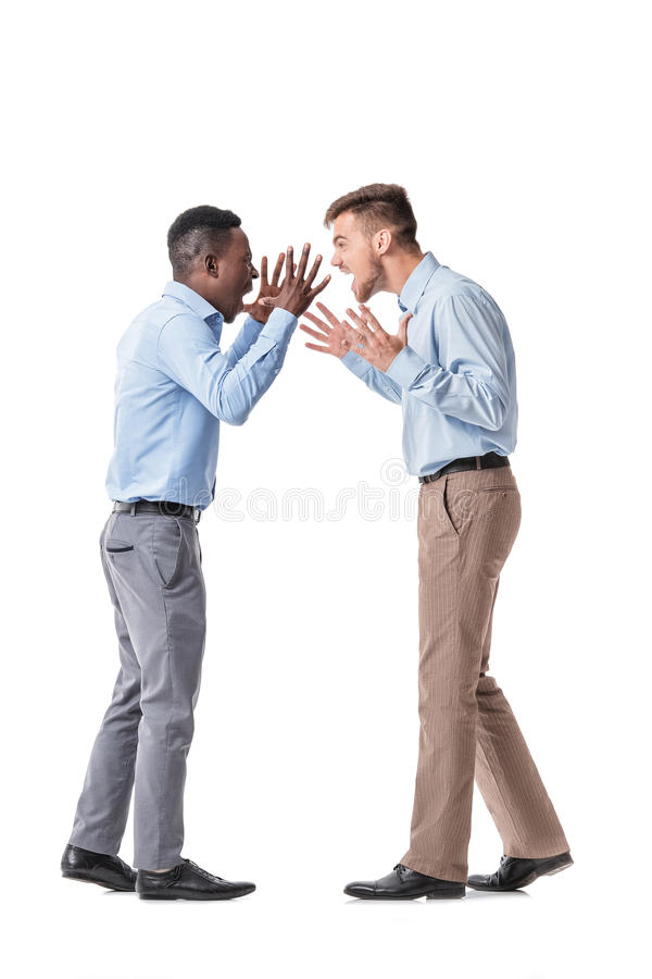 Two businessman arguing stock photography