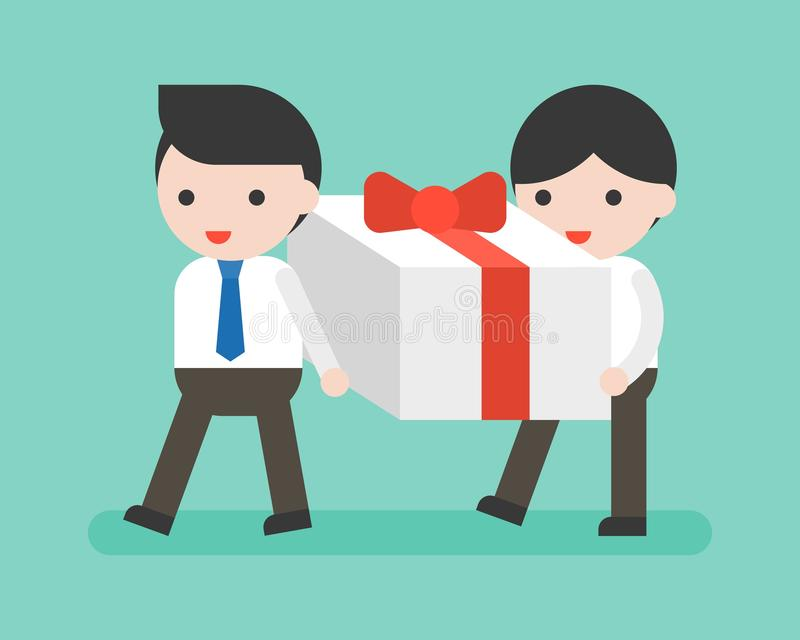 Two Businessman carrying big present box, business situation. Flat design vector illustration