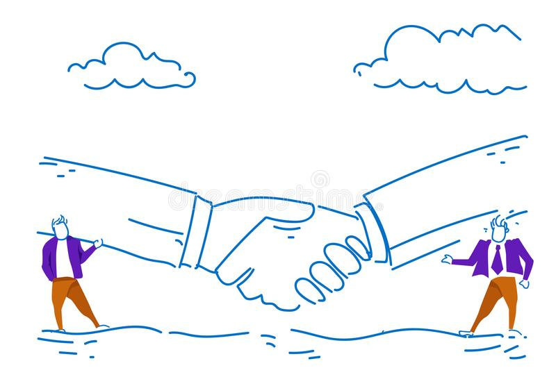 Two businessman communication business partnership agreement concept handshake background successful conversation sketch stock illustration