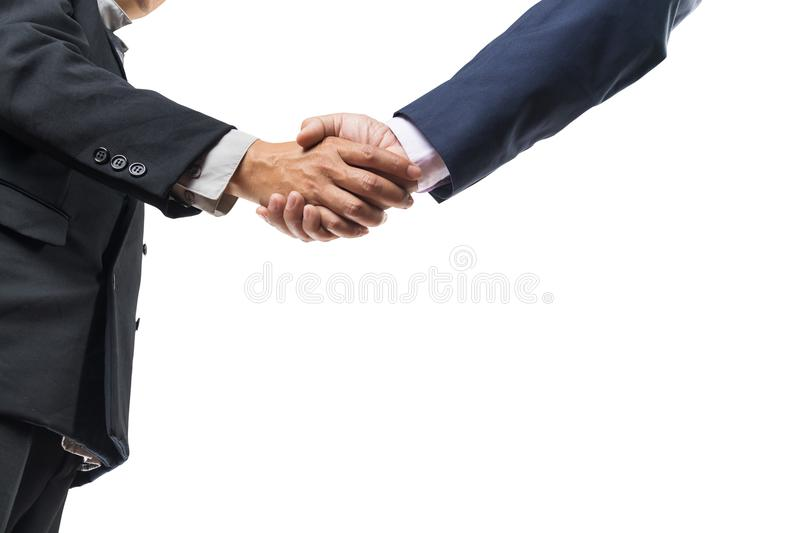 Two Businessman Executive hand shaking. Over white Background as Teamwork or Business Partnership Concept stock image