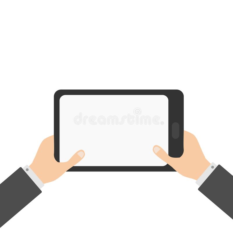 Two businessman hands holding genering tablet PC gadget. royalty free illustration