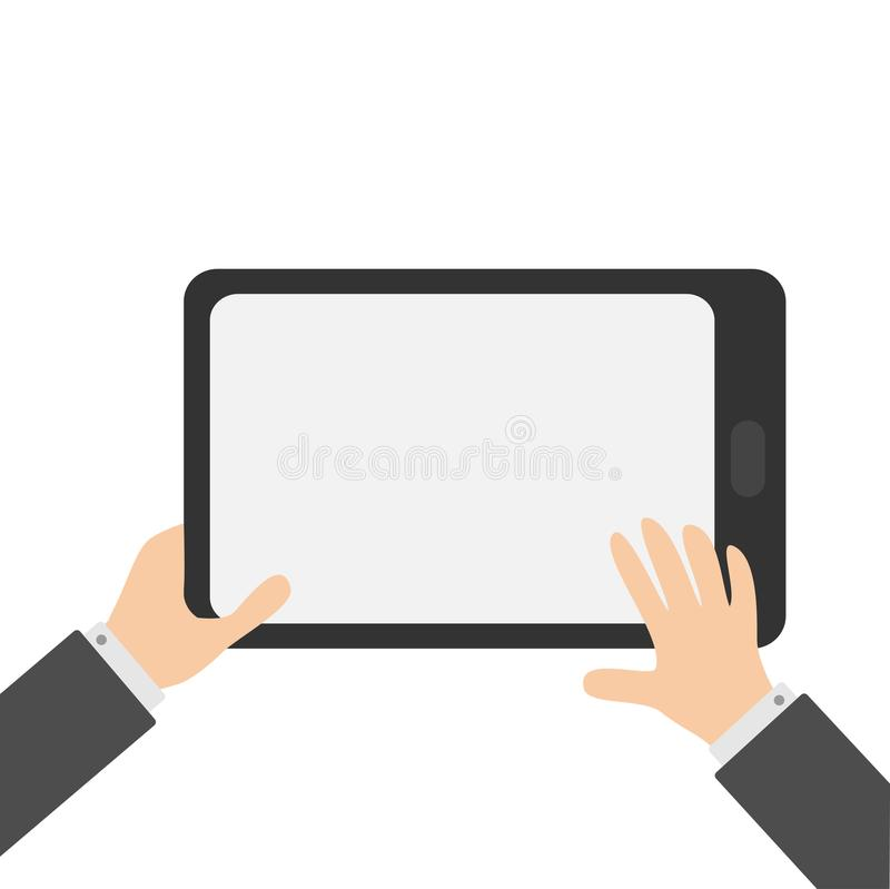 Two businessman hands holding genering tablet PC gadget. Searching concept. Male female teen hand and black Tab with blank screen. Empty space template for royalty free illustration