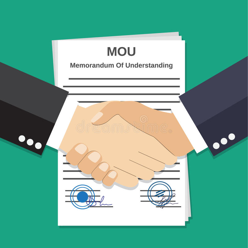 Two Businessman handshake on mou memorandum. Of understanding legal document contract papers after agreement. vector illustration in flat style on green vector illustration