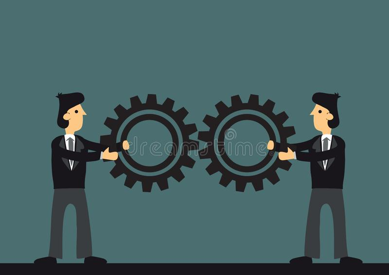 Two businessman joining gears. Concept of business cooperation; team work; collaboration and partnership. Vector illustration vector illustration