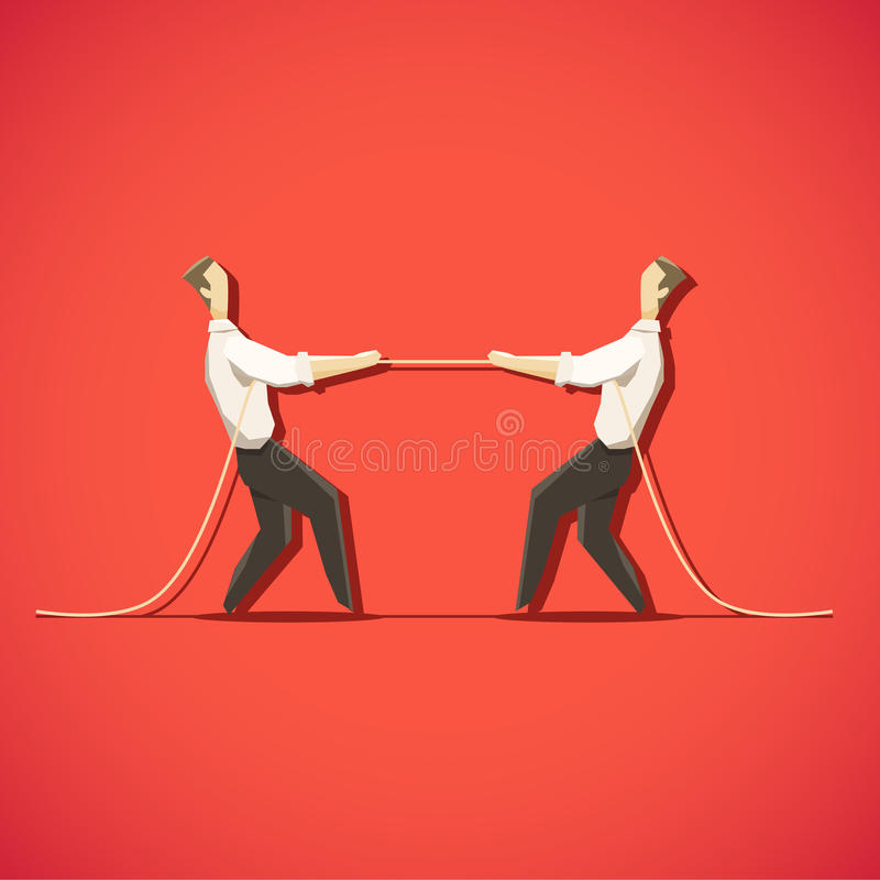 Two Businessman are pulling the rope royalty free illustration