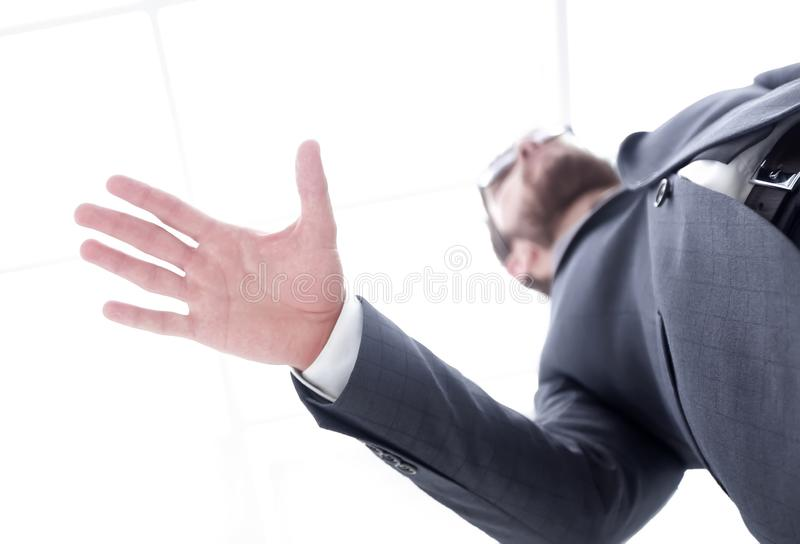 Two businessman shaking hands royalty free stock photo
