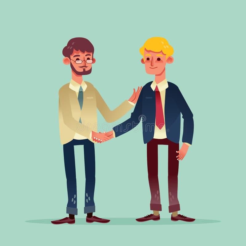 Two businessman shaking hands illustration cartoon character. Two businessman shaking hands vector illustration cartoon character royalty free illustration