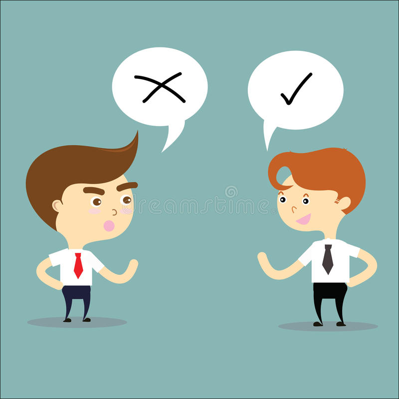 Two businessman thinking opposites with right and wrong sign vec stock illustration