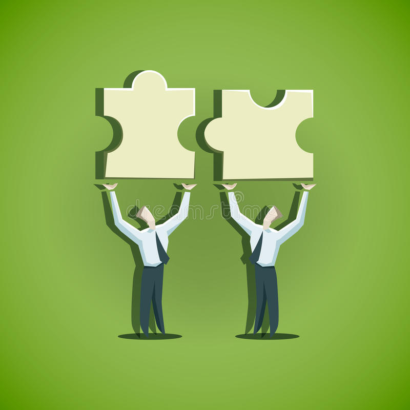 Two businessman trying to combine puzzle pieces. EPS 10 file vector illustration