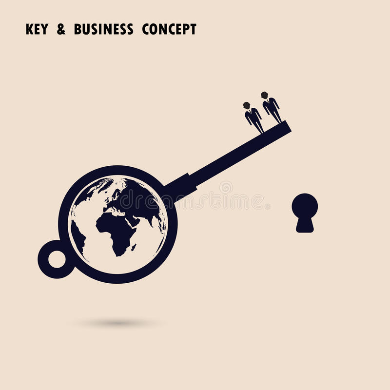 Two businessman with world key symbol. Global business solution stock illustration