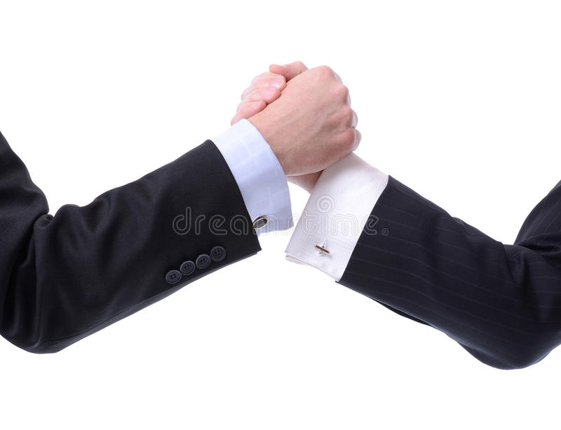 Arm Wrestling business. Two businessmen arm wrestling isolated on white stock photo