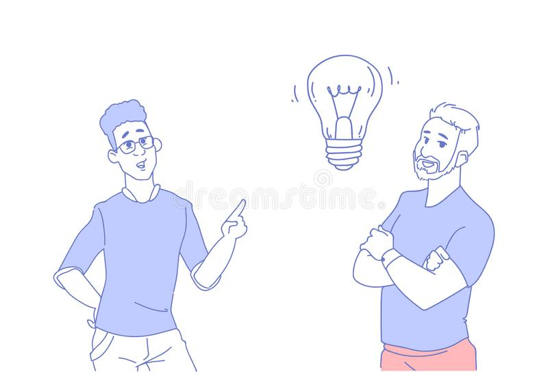 Two businessmen brainstorming light lamp new idea concept business man inspiration creative innovation successful royalty free illustration