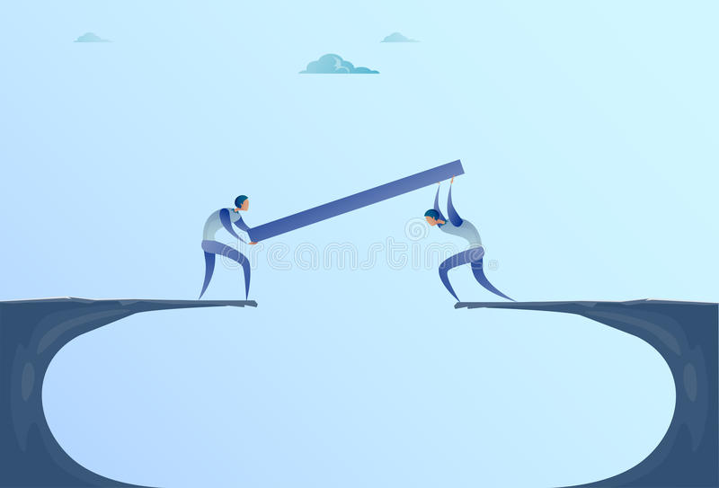 Two Businessmen Building Bridge Over Cliff Gap Mountain Business People Cooperation Help Teamwork Concept. Flat Vector Illustration vector illustration
