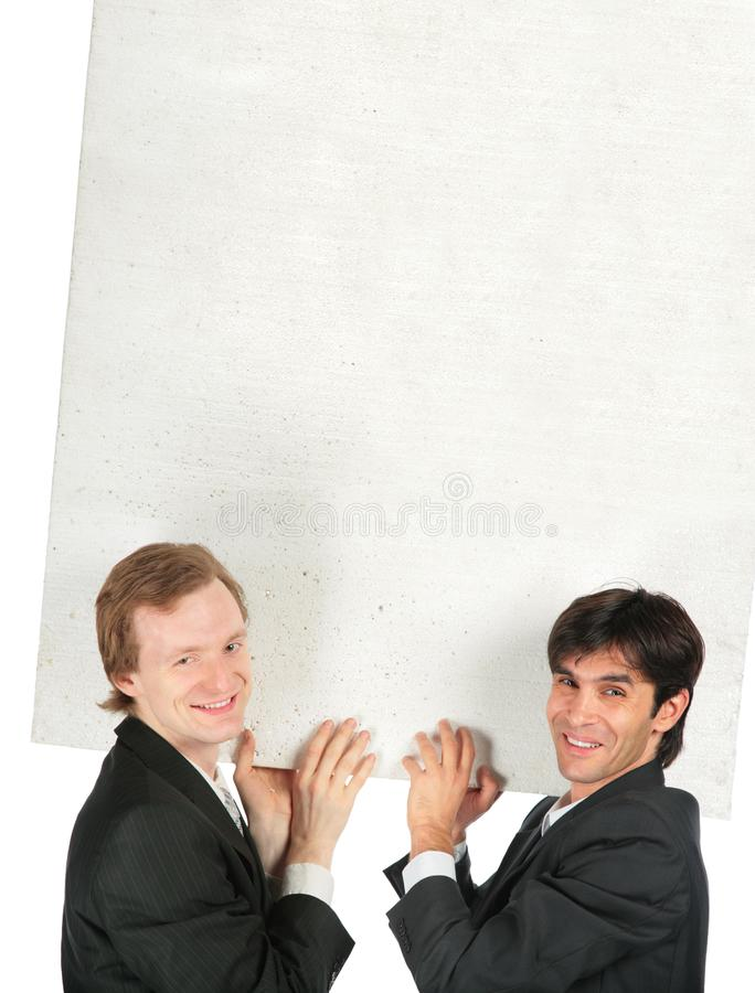 Download Two Businessmen Carry White Plate Stock Image - Image: 8071669
