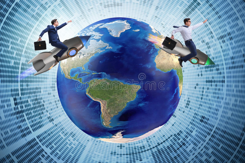 The two businessmen chasing around globe stock photos