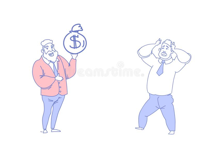 Two businessmen communicating boss hold dollar bag motivation concept employer holding head stress project problem male royalty free illustration