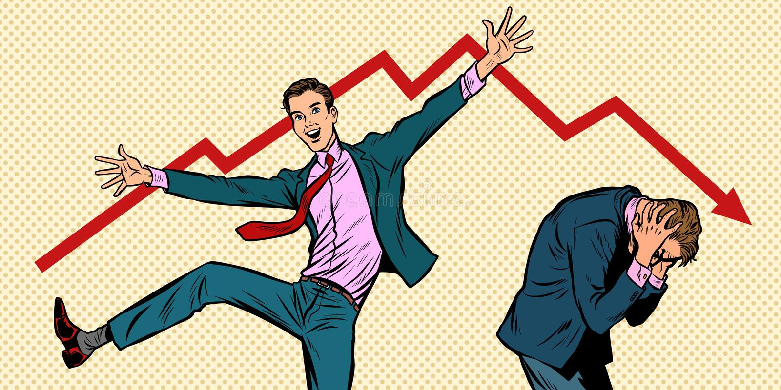 Two businessmen. different emotions bankruptcy stock market crash. Two businessmen. different emotions happiness joy smile and panic sadness fear. bankruptcy stock illustration