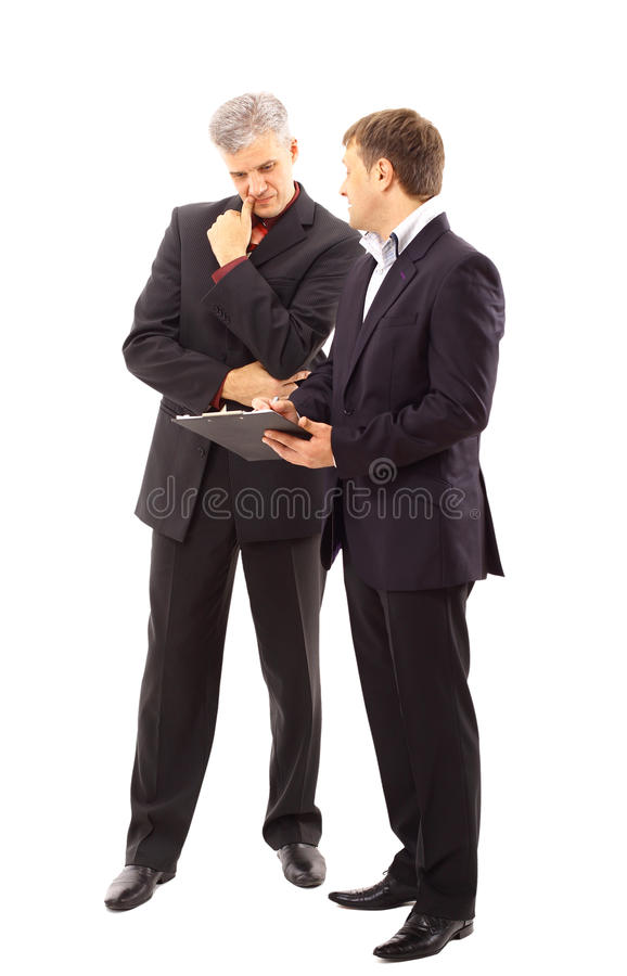 Two businessmen discussing royalty free stock images