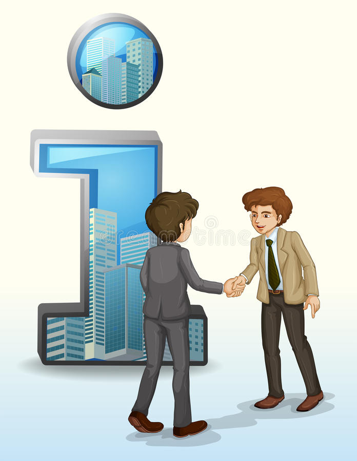 Two Businessmen In Front Of The Number One Symbol Stock Photography