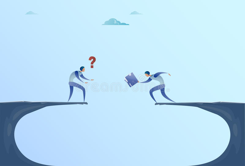 Two Businessmen Giving Documents Over Cliff Gap Mountain Business People Cooperation Help Teamwork Concept. Flat Vector Illustration vector illustration