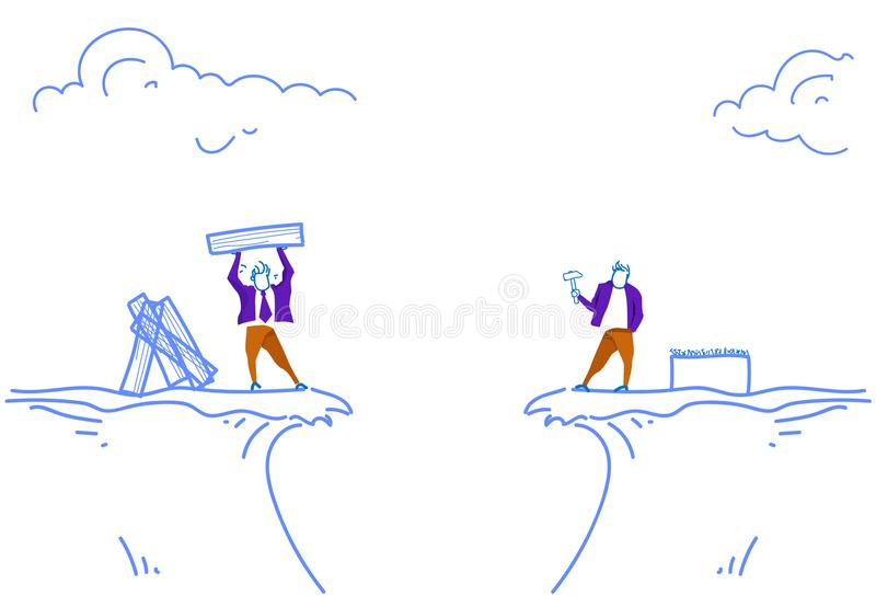 Two businessmen hammer clog the nails board building concept between mountain abyss business problem solution horizontal. Sketch doodle vector illustration royalty free illustration