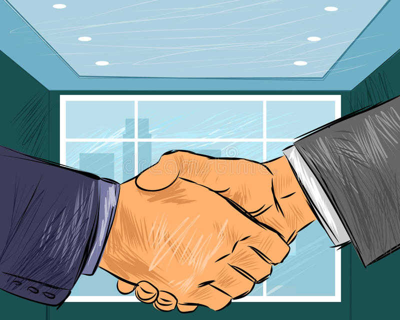 Two businessmen handshake vector illustration