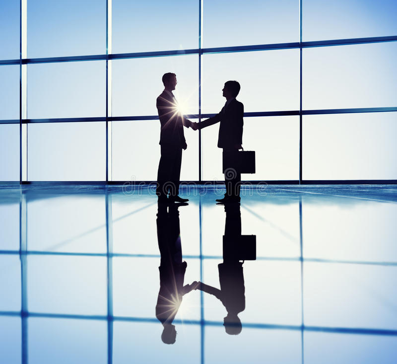 Two Businessmen Handshaking in the Office royalty free stock photos