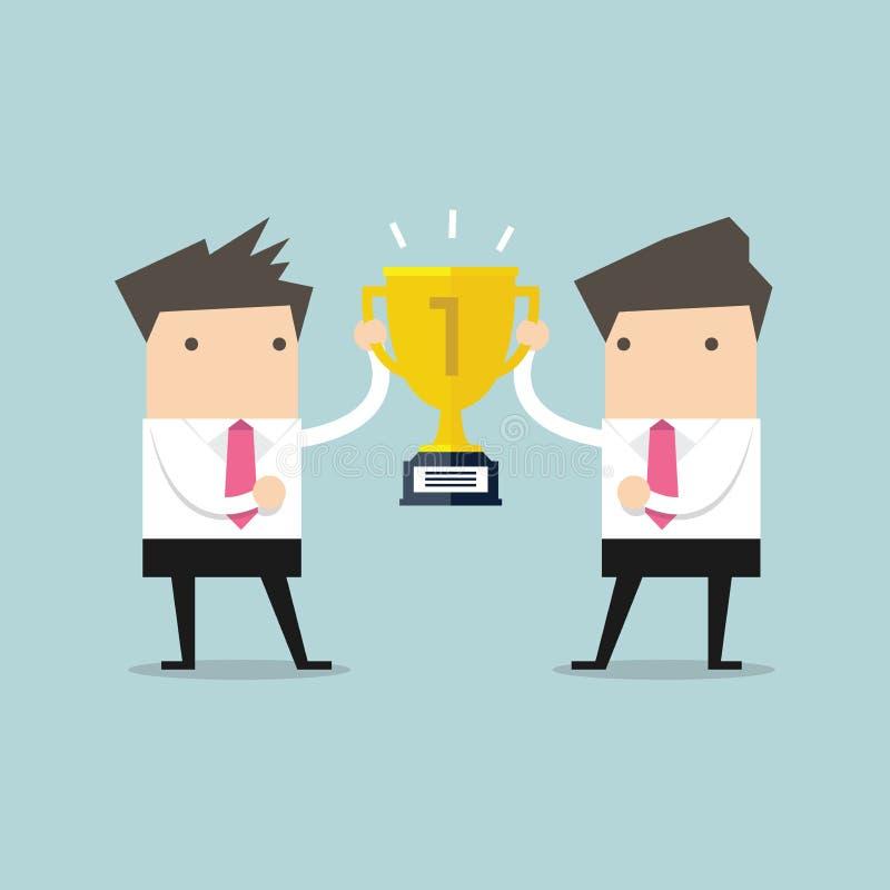 Two businessmen holding gold winner cup together. Vector illustration stock illustration
