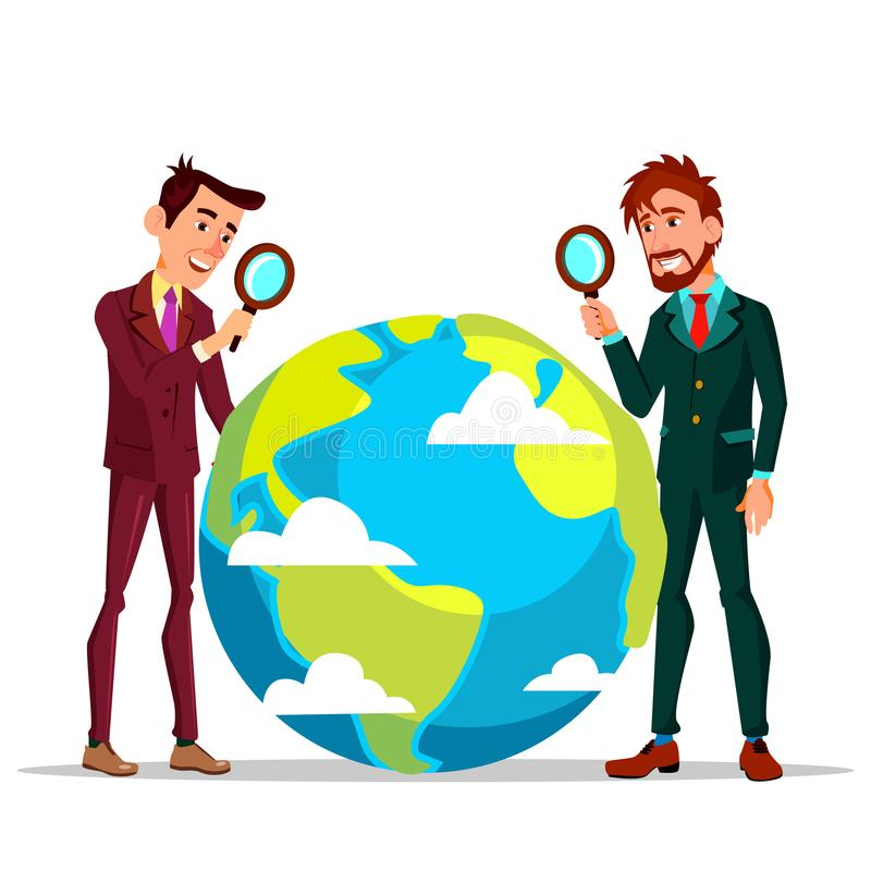 Two Businessmen Looking At Earth Through Magnifying Glass Vector Flat Cartoon Illustration royalty free illustration