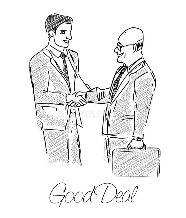 Two businessmen made a good deal vector illustration