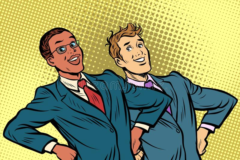 Two businessmen multiracial group royalty free illustration