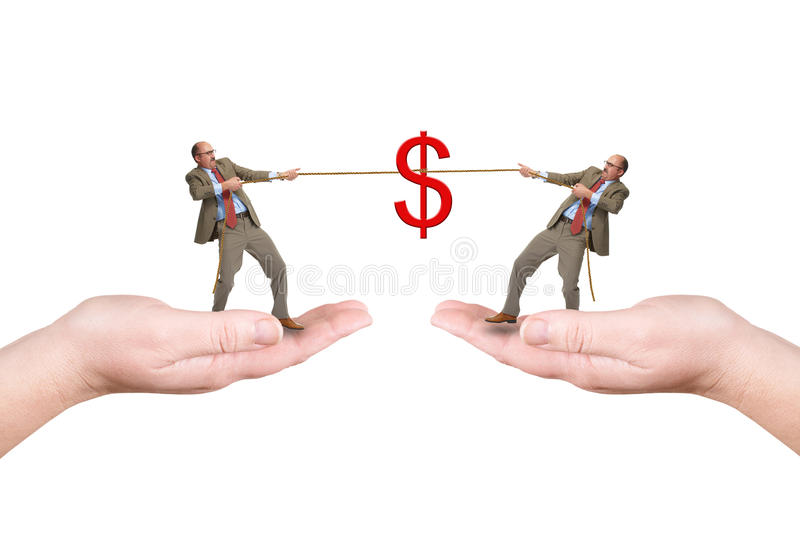 Download Two Businessmen Pull A Cord Stock Photo - Image: 31496720