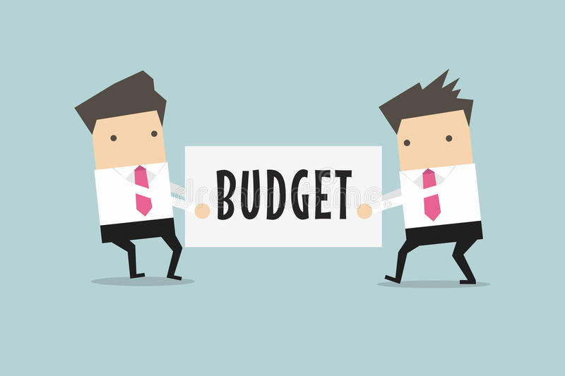 Two businessmen are pulling the budget to each other. stock illustration