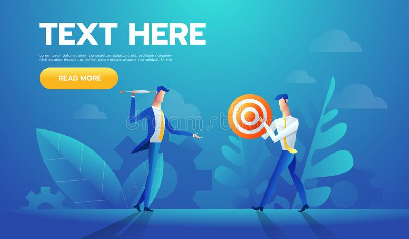 Two businessmen with red and white striped target with a arrow in a concept of business goals and success, cartoon. Vector illustration on white stock illustration