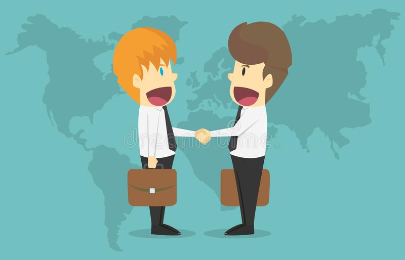 Two businessmen shake hands over world map.Cartoon of business s. Uccess is the concept of the man characters business, the mood of people, can be used as a vector illustration