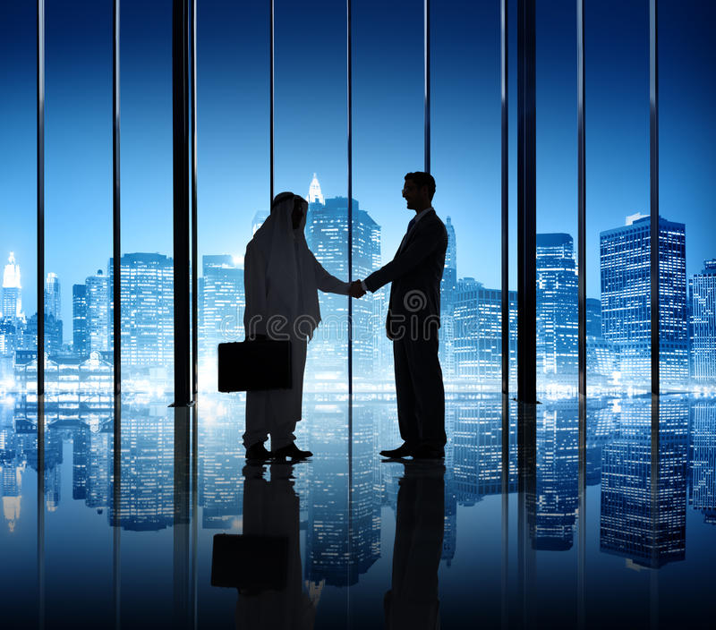 Two Businessmen Shaking Hand In The Office royalty free stock photos