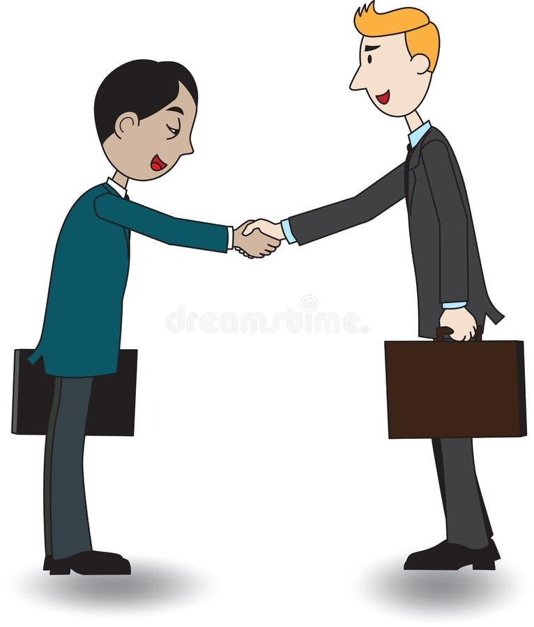Two businessmen shaking hand, vector illustration, cartoon vector illustration