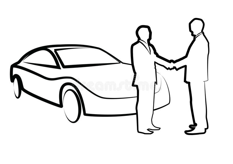 Two businessmen shaking hands in front of a car - illustration , royalty free illustration