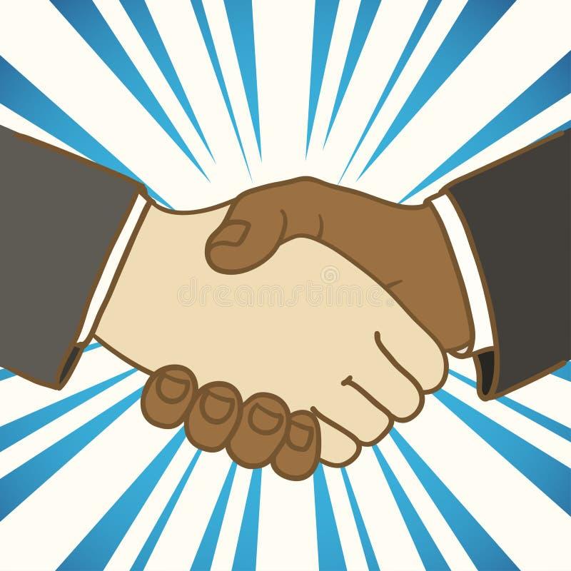 Two businessmen shaking hands. Good deal. Illustration of two businessmen shaking hands. Good deal royalty free illustration
